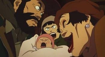 Tokyo Godfathers Hana Gin Miyuki bébé